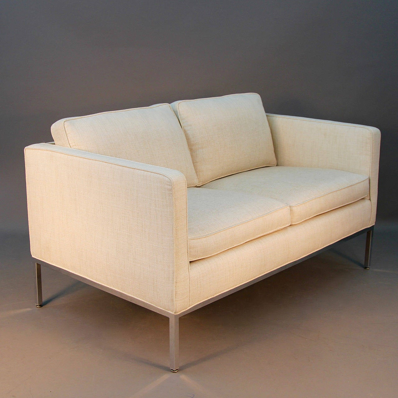 Mid-Century Modern Milo Baughman for Thayer Coggin Signed Chrome and Linen Loveseat Sofa For Sale