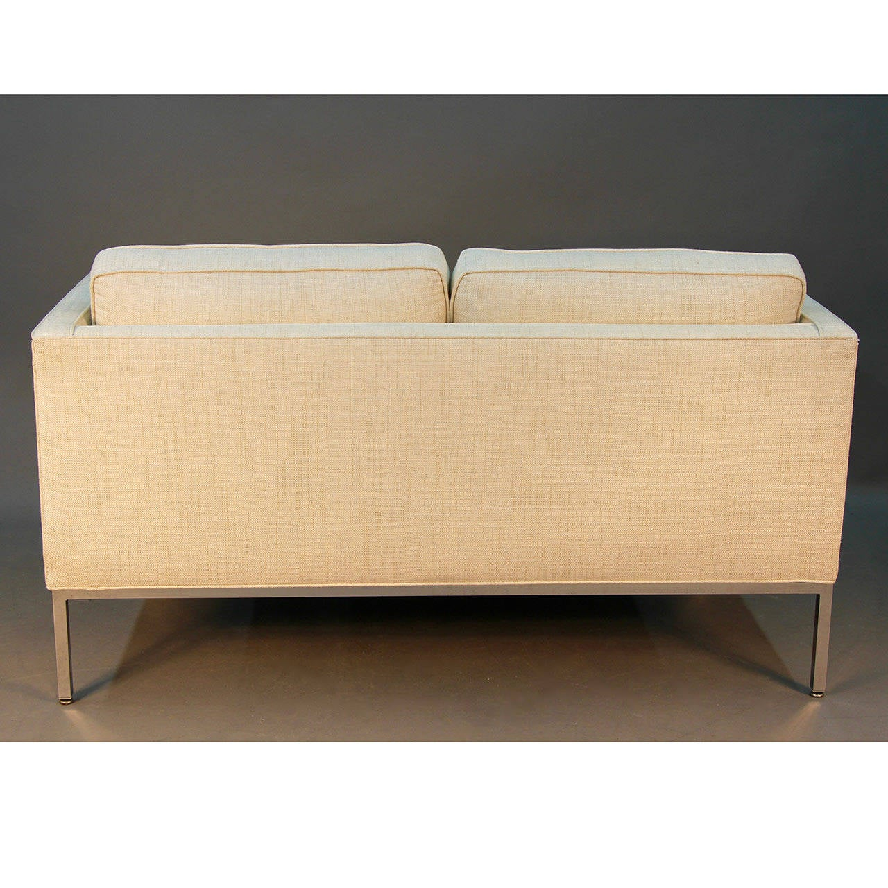 American Milo Baughman for Thayer Coggin Signed Chrome and Linen Loveseat Sofa For Sale