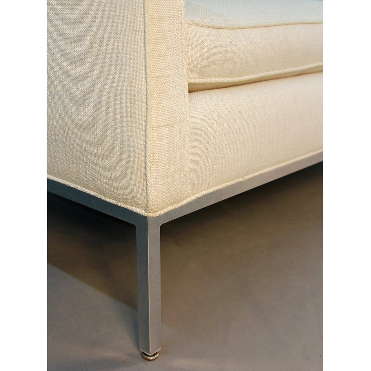 Mid-20th Century Milo Baughman for Thayer Coggin Signed Chrome and Linen Loveseat Sofa For Sale
