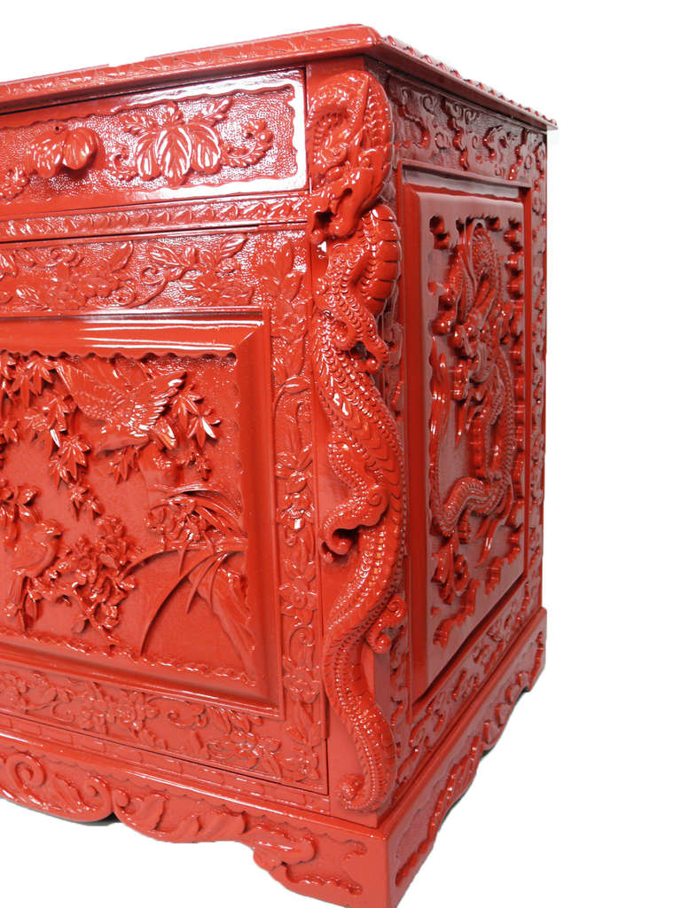 Red lacquered asian sideboard media console with mirror at for Oriental furniture norwalk ct