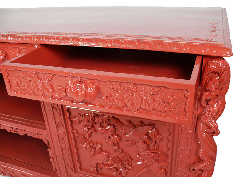 Red lacquered asian sideboard media console with mirror at for Chinese furniture norwalk ct