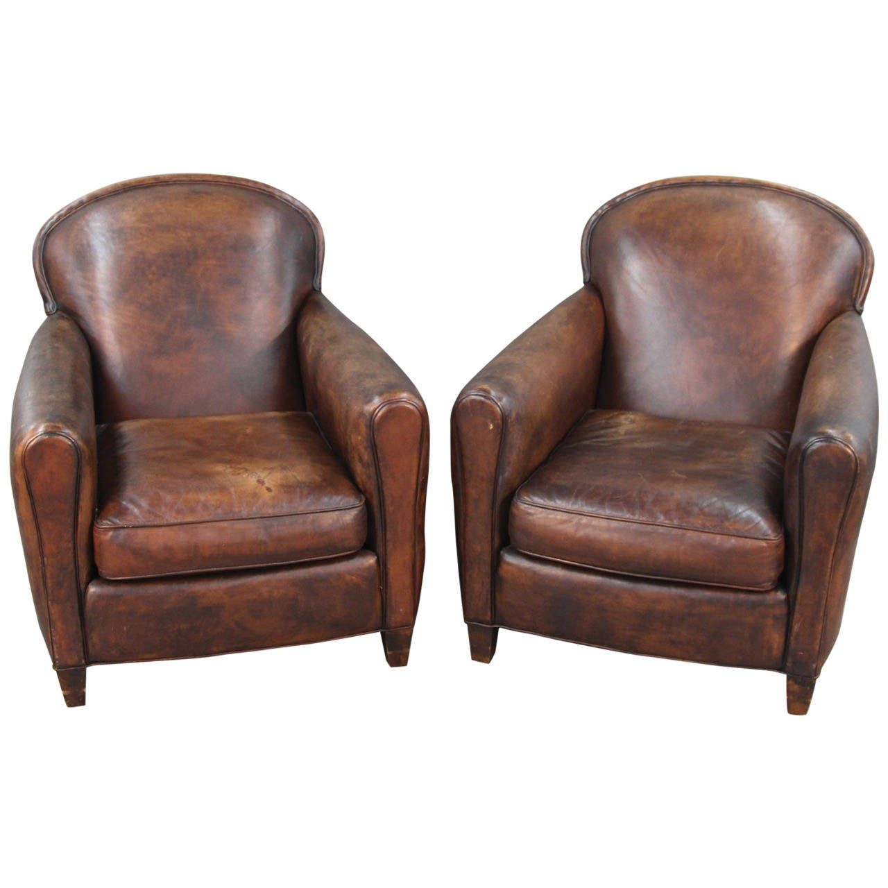 Pair Of Art Deco Style Leather Club Chairs For Sale