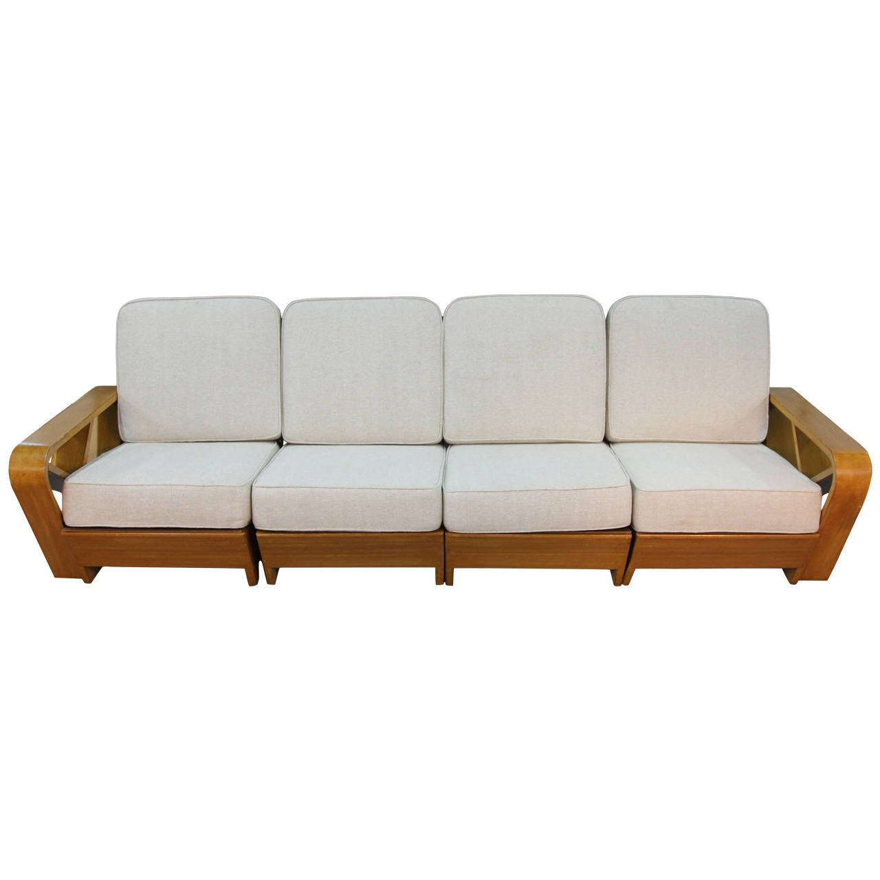 Four Piece Wood Frame Sofa In Manner Of Paul Frankl At 1stdibs