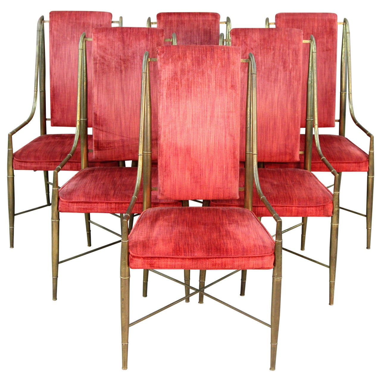 Set of six mastercraft faux bamboo brass and velvet dining for Dining room velvet chairs