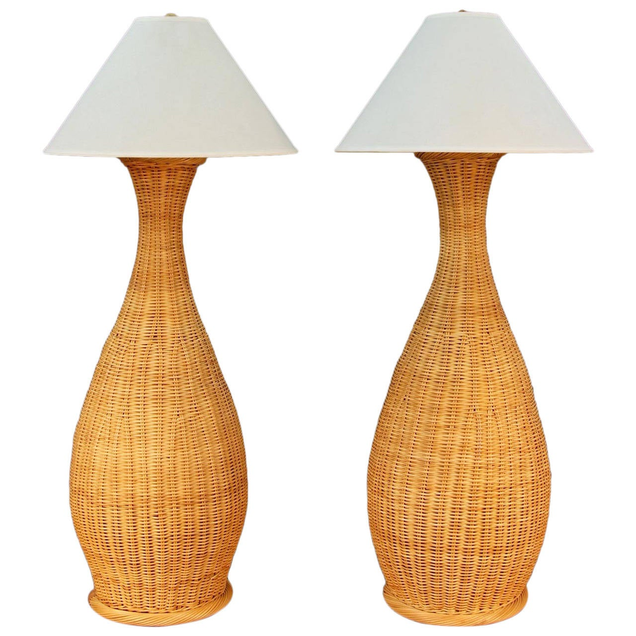 Wicker floor lamps for sale