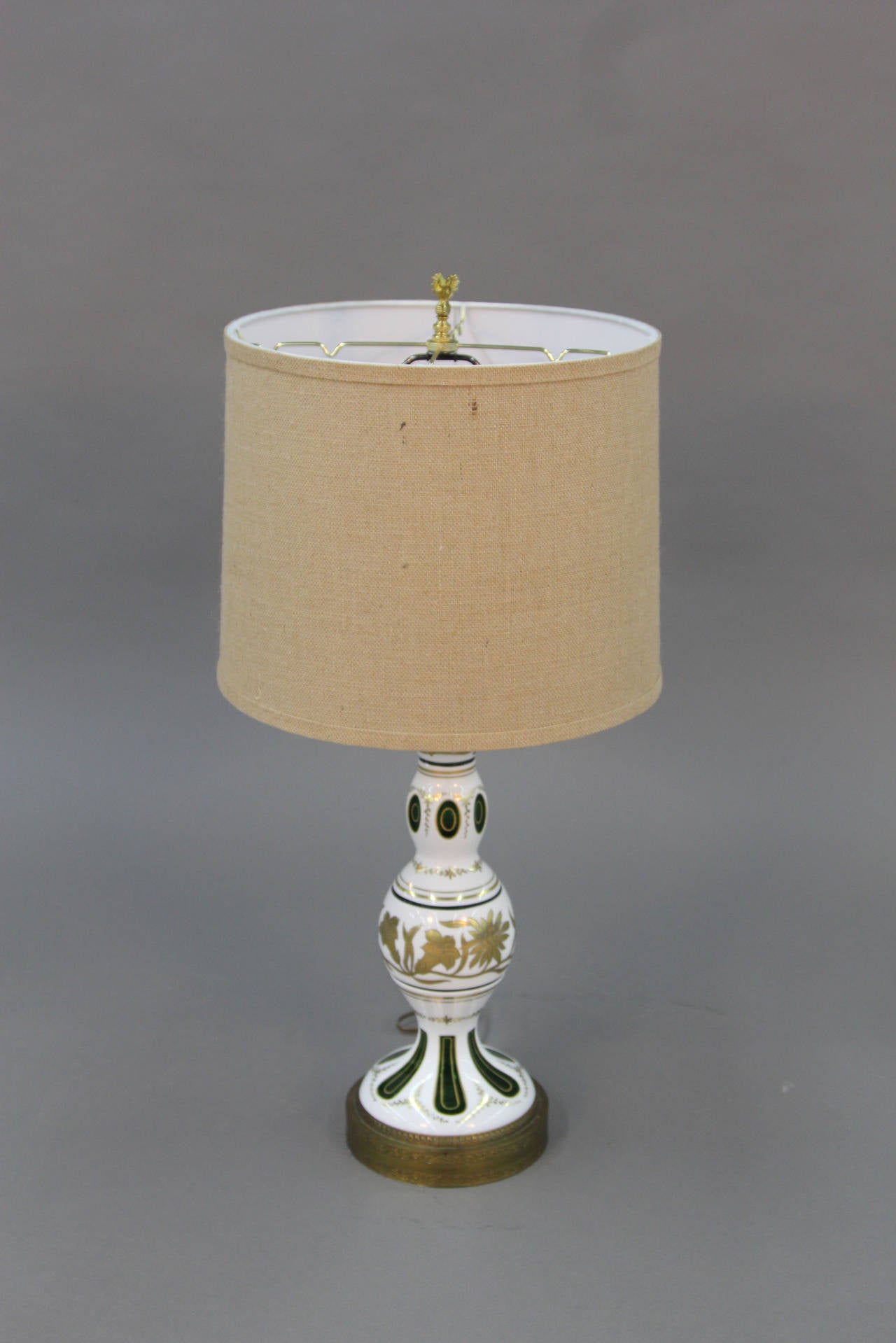 Emerald green table lamp - Bohemian Cased Glass Cut To Emerald Green Table Lamps 2