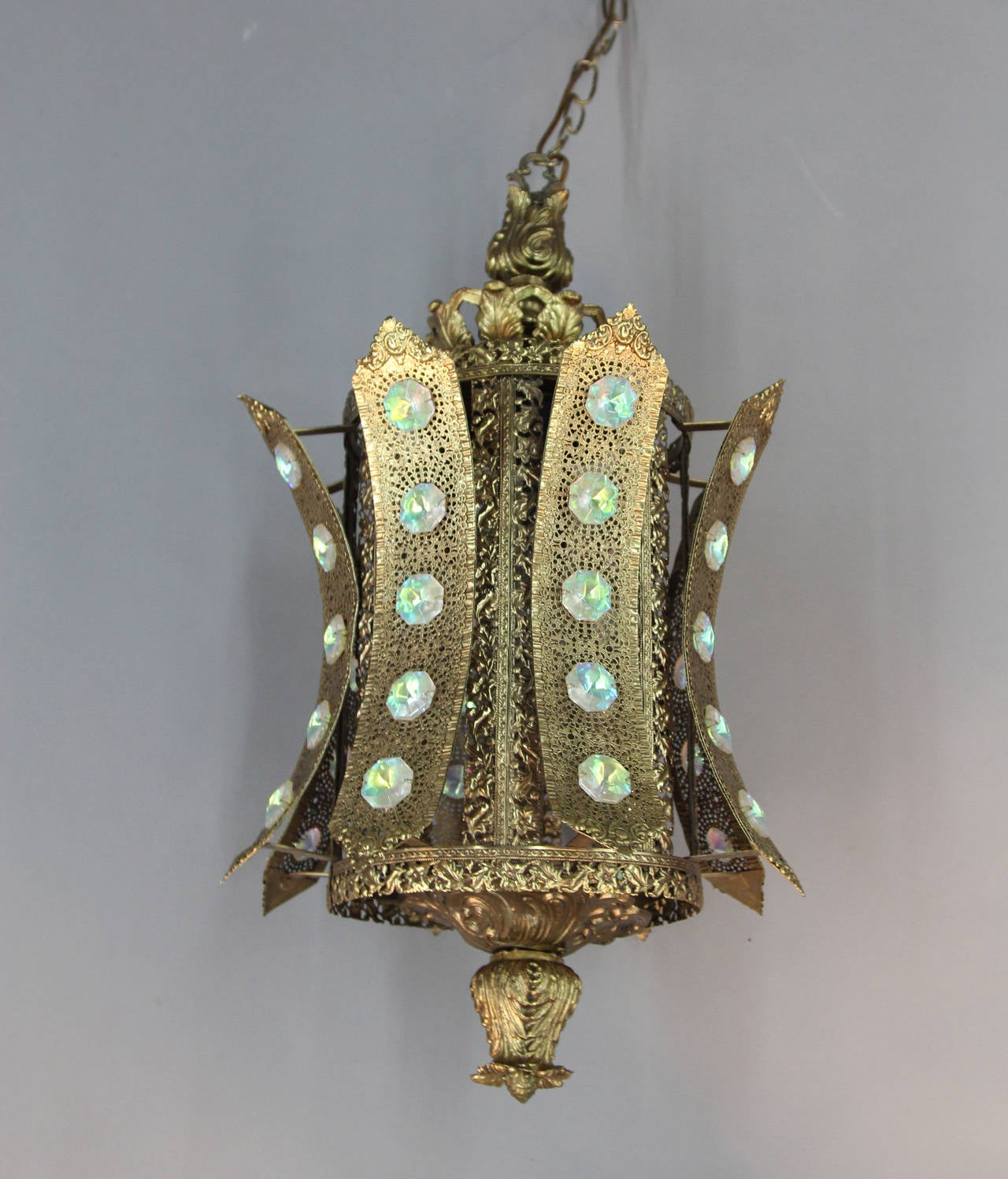 Pair Bollywood Alberto Pinto Style Jeweled Filigree Gilt