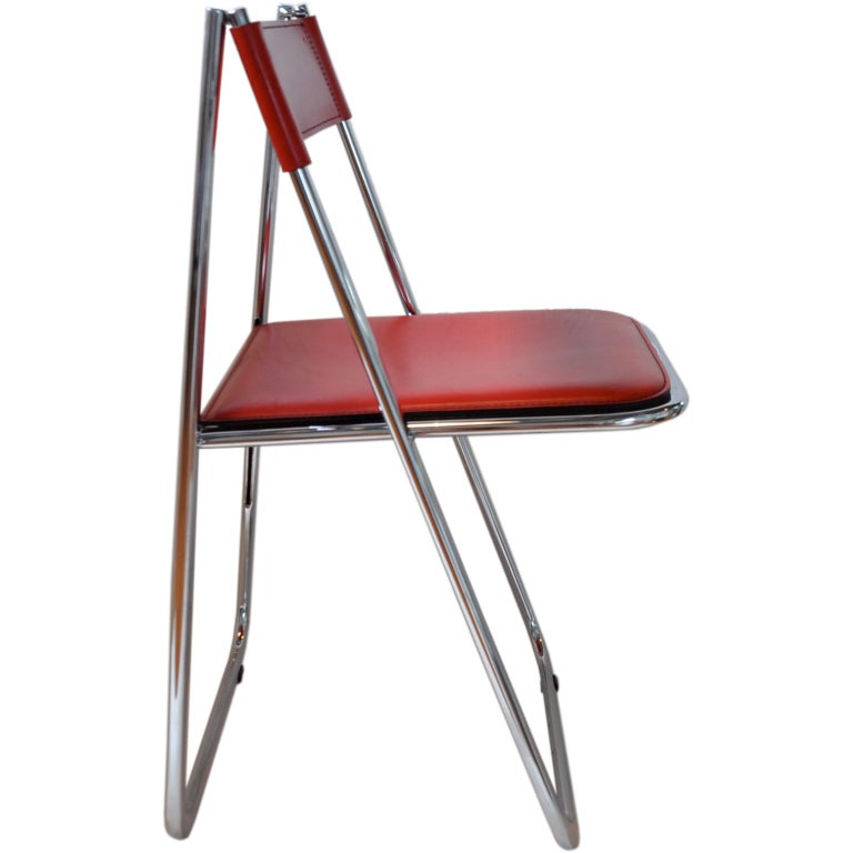 Stitched Leather Folding Chair Arrben At 1stdibs