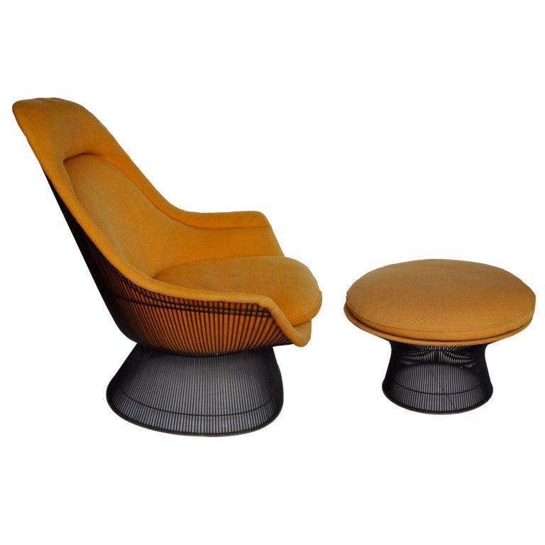Bronze Lounge Chair And Ottoman Warren Platner At 1stdibs