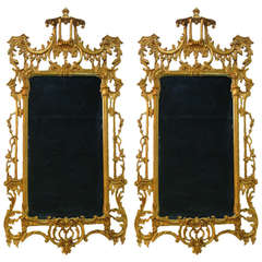 Pair of Chinese Chippendale Pagoda Mirrors, elaborately carved gilt-wood