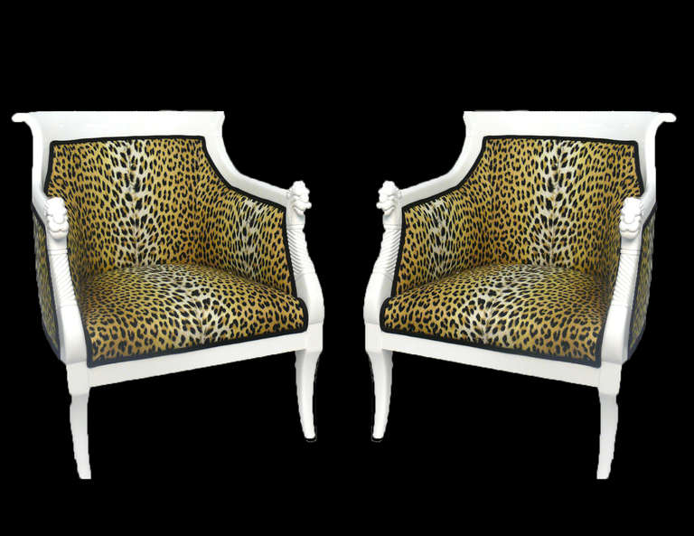 American Pair of Hollywood Regency Leopard Print Lacquered Arm Chairs For Sale