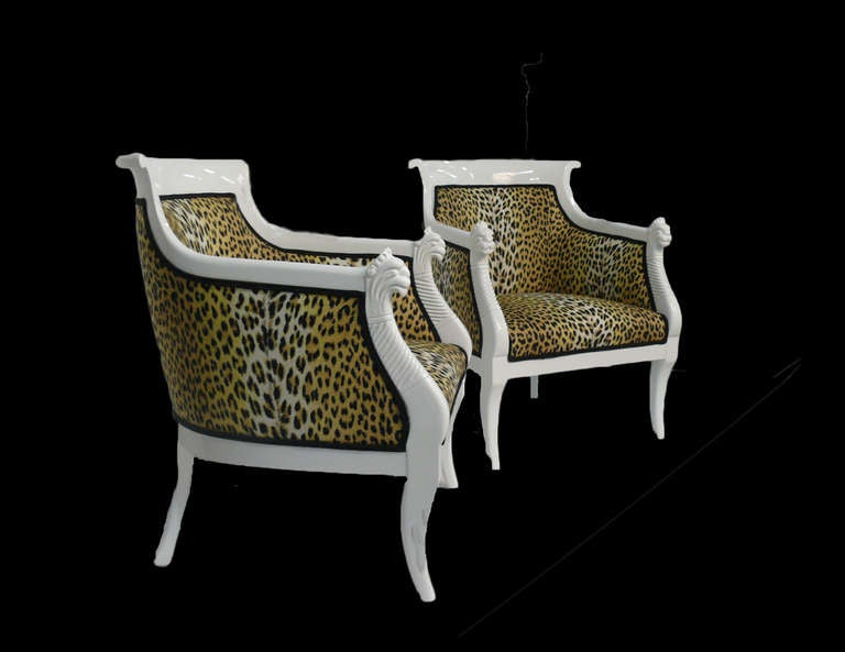 Pair of Hollywood Regency Leopard Print Lacquered Arm Chairs In Excellent Condition For Sale In Norwalk, CT