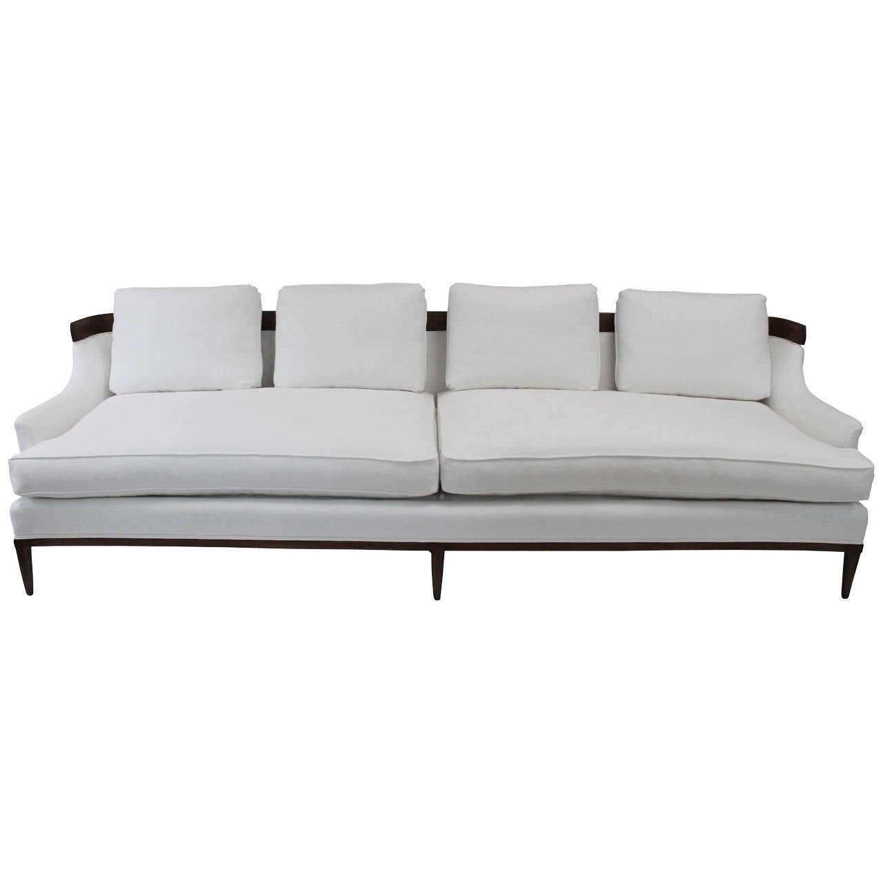 Erwin lambeth white linen sofa at 1stdibs for White linen sectional sofa