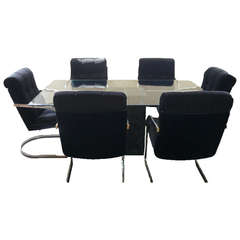 Artedi Dining Table With Six Velvet and Chrome Chairs