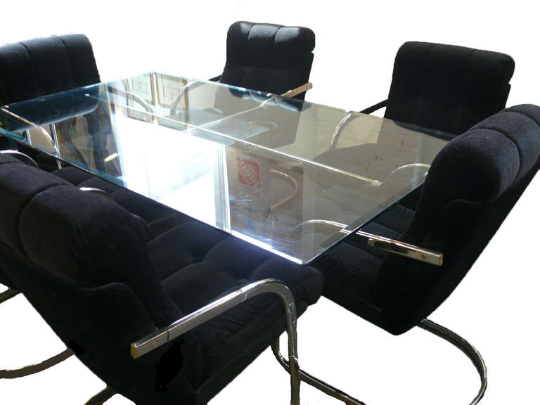 Artedi Dining Table With Six Velvet and Chrome Chairs 9