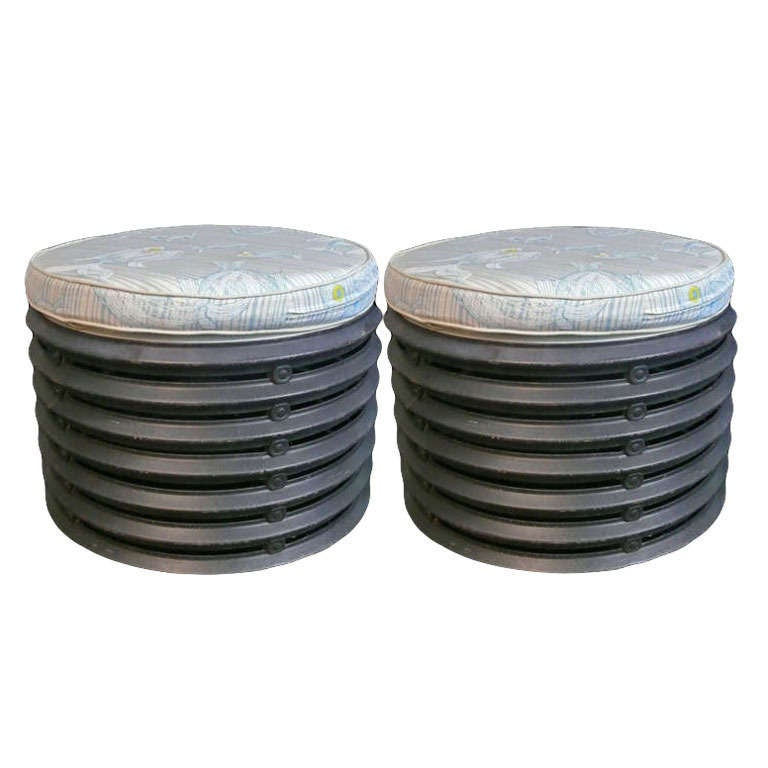Pair Of French Industrial Element Round Stools For Sale At