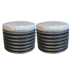 Pair of French Industrial Element Round Stools