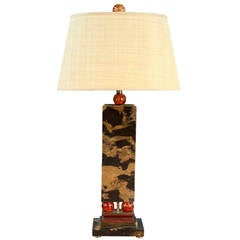 Unique Art Deco Black/Brown Marble Table Lamp with Orange Acrylic Accents