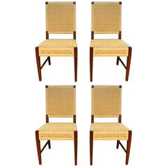Set of Four Donghia Dining Chairs in Merbau Wood with Raffia Weaving