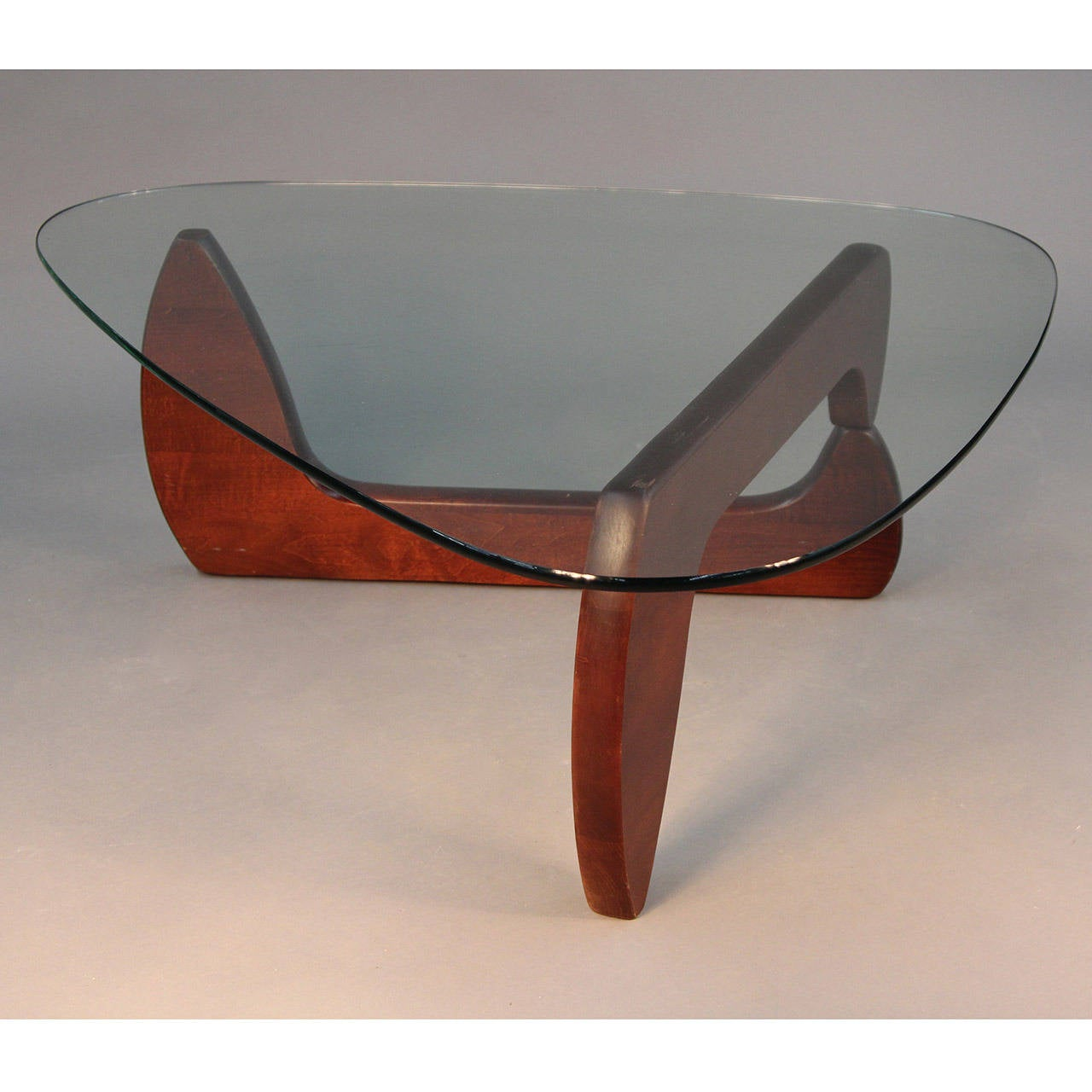 Expandable Noguchi Style Base With Triangular Gl Top Table