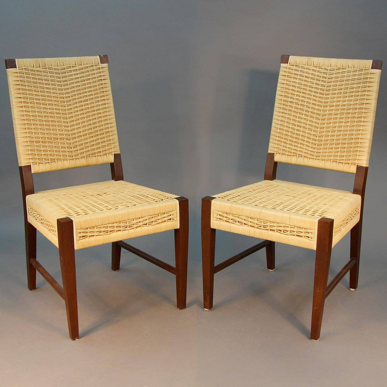 Set Of Four Donghia Dining Chairs In Merbau Wood With Raffia Weaving 2