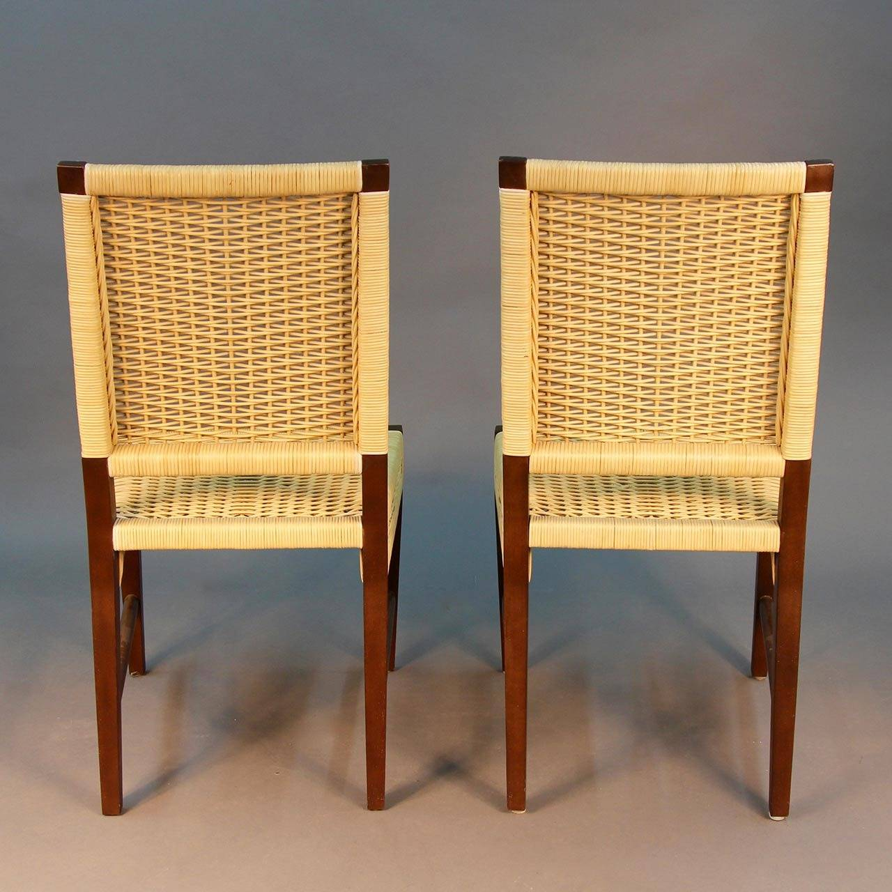 Set of Four Donghia Dining Chairs in Merbau Wood with Raffia Weaving In Excellent Condition For & Set of Four Donghia Dining Chairs in Merbau Wood with Raffia Weaving ...