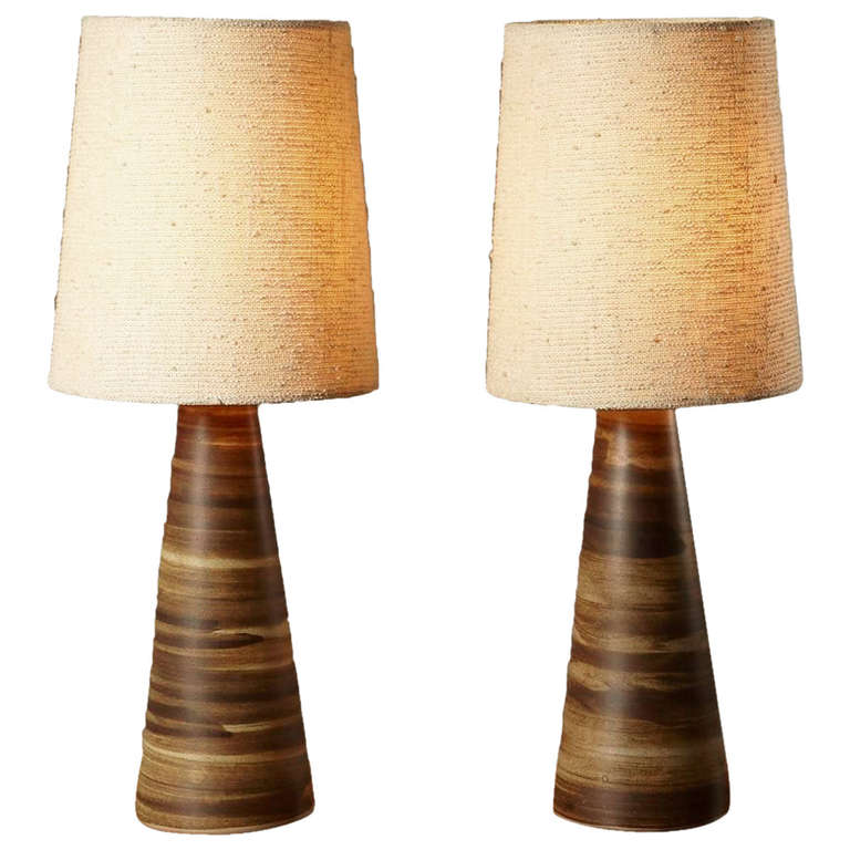 Pair of Glazed Ceramic Table Lamps by Jane and Gordon Martz of ...