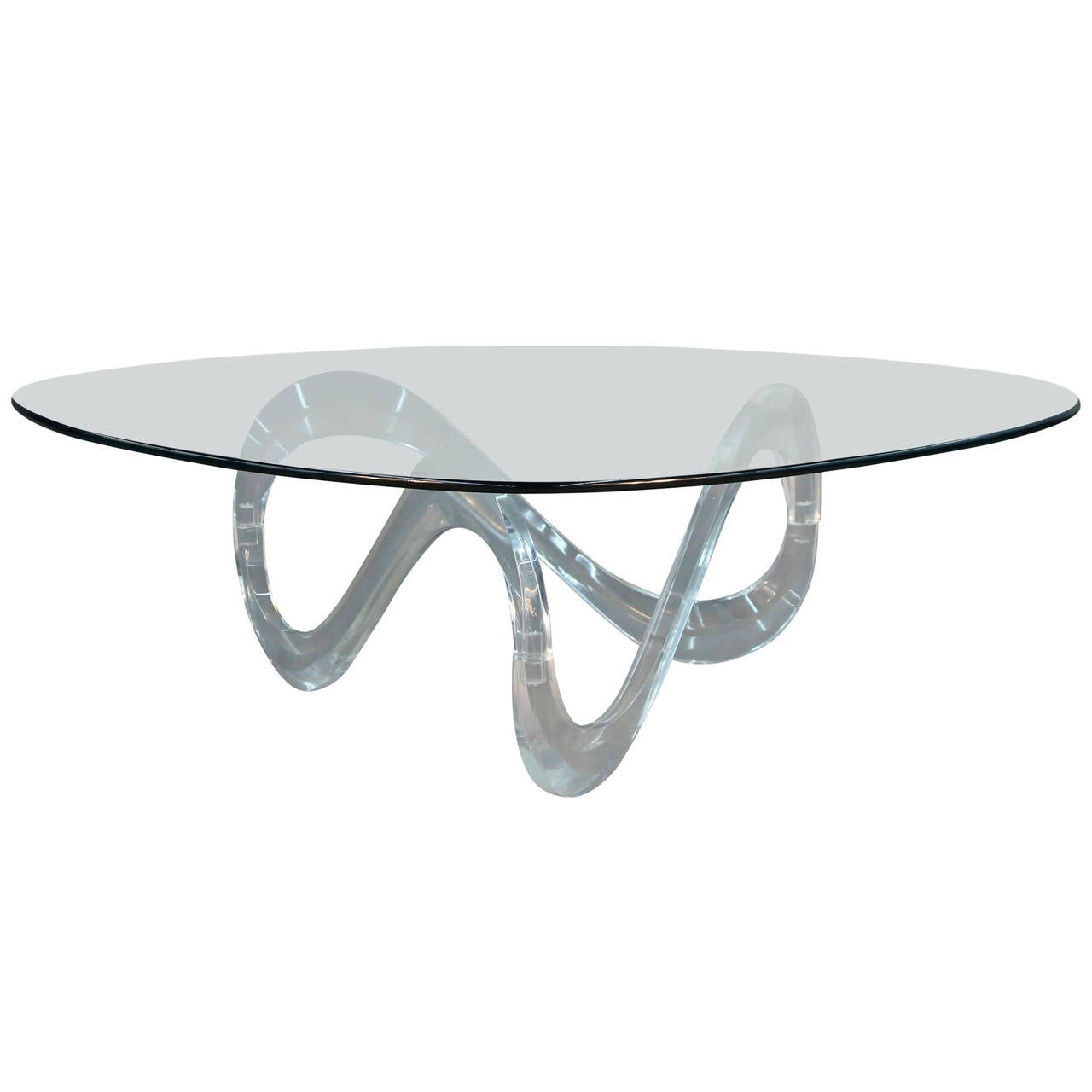 Lucite Infinity Base Triangular Coffee Table Charles Hollis Jones 1