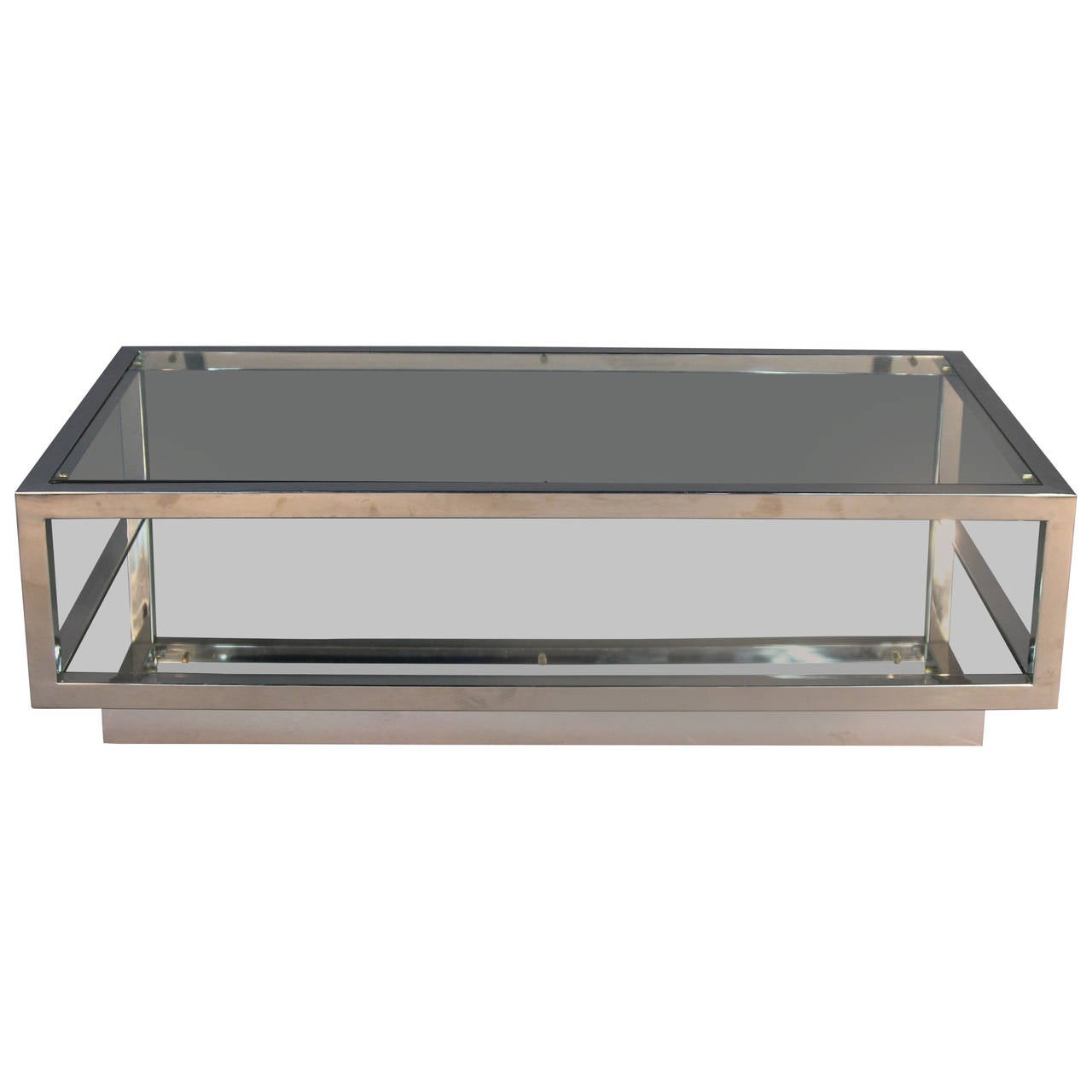 Chrome and glass top coffee table with mirrored shelf Glass coffee table tops