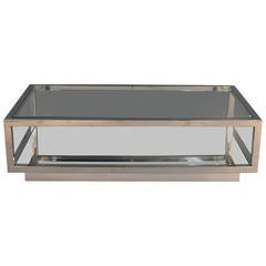 Chrome and Glass Top Coffee Table with Mirrored Shelf Attributed Cy Mann