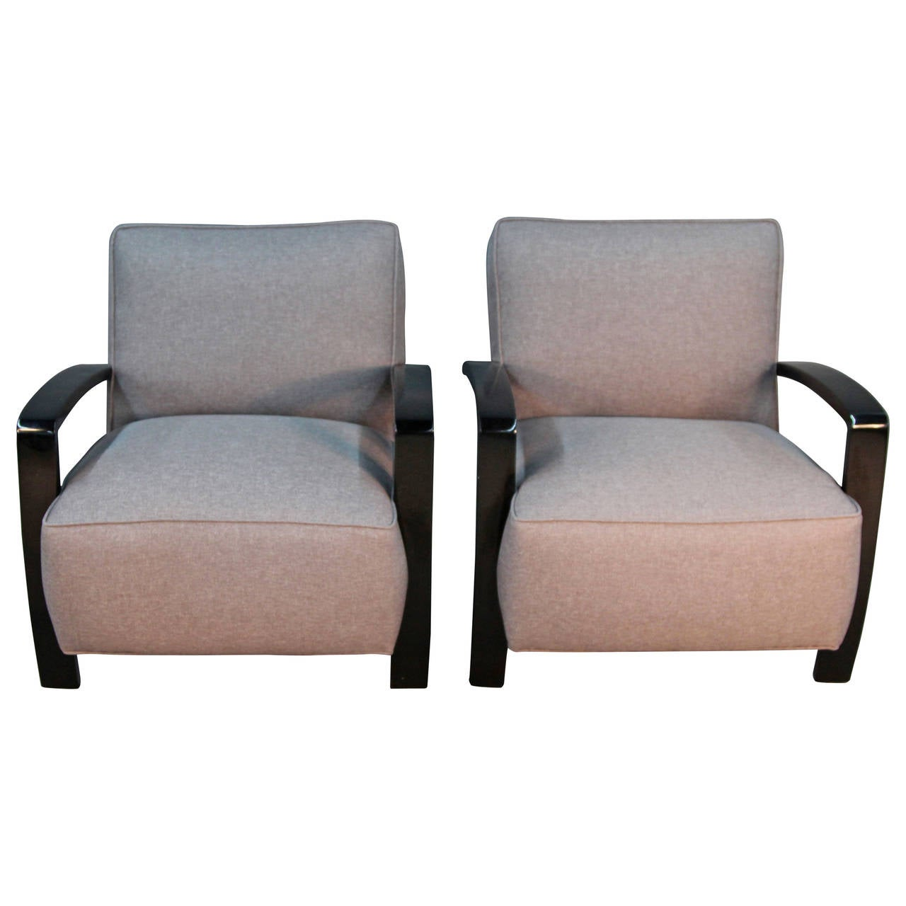 Art Deco Style Club Chairs With Lacquered Frame And New
