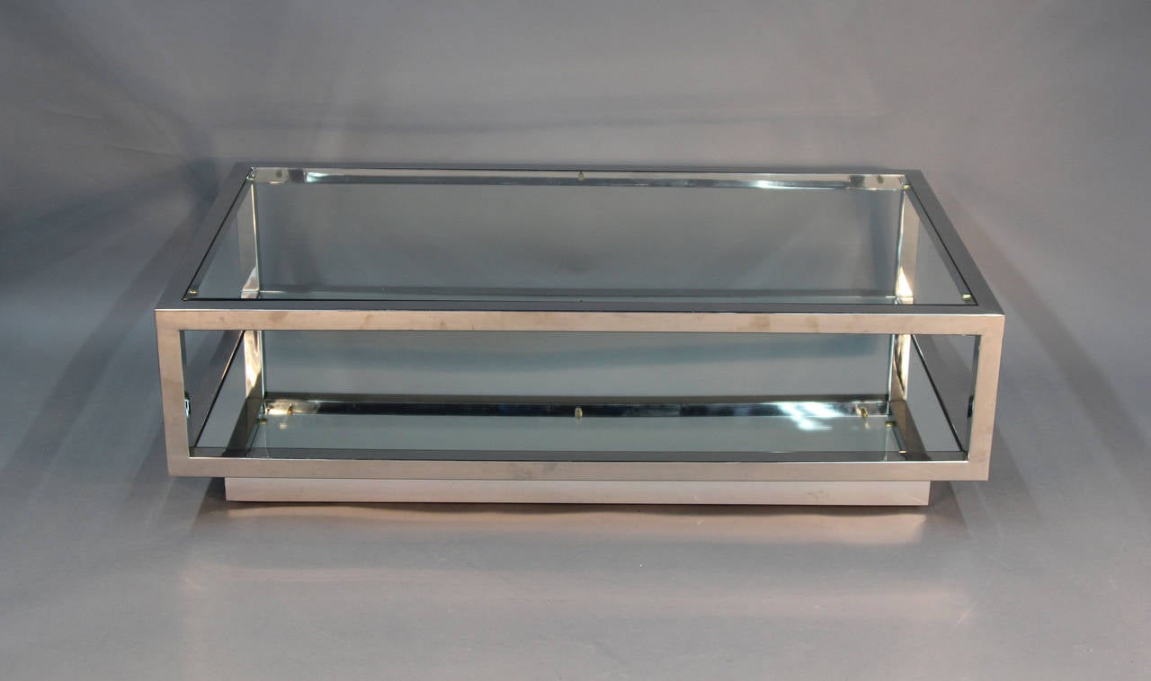 Chrome and glass top coffee table with mirrored shelf for 2 shelf glass coffee table
