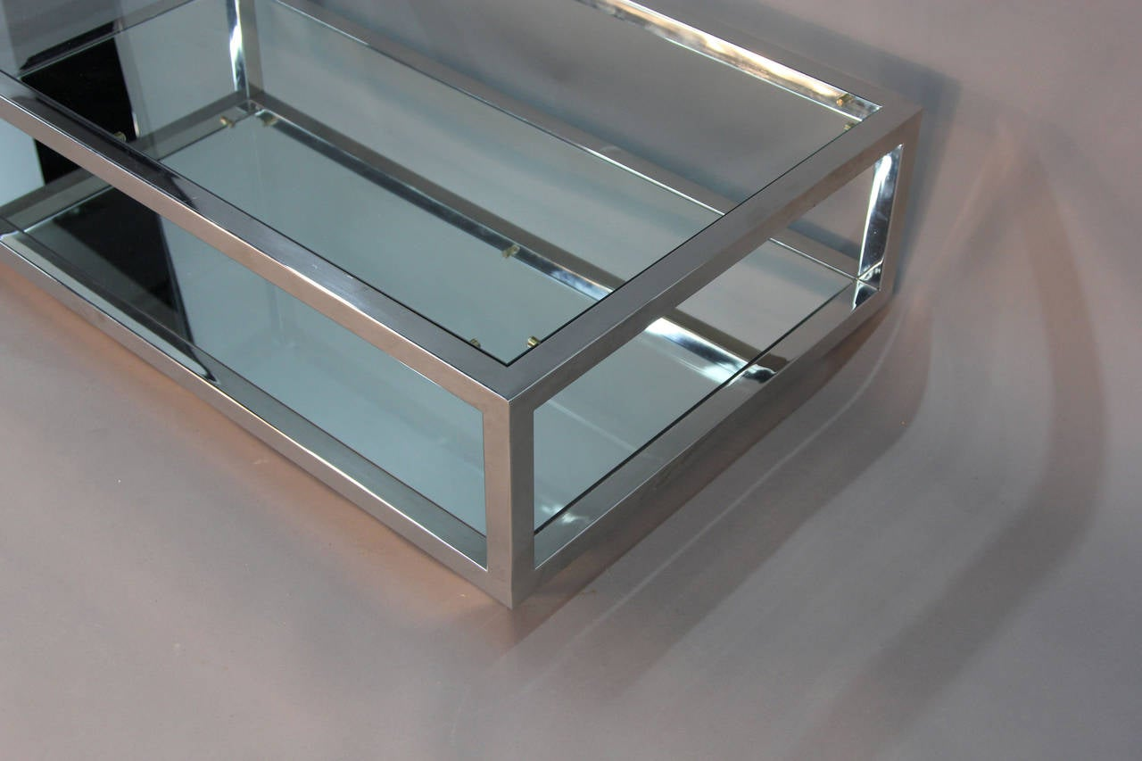 Chrome and Glass Top Coffee Table with Mirrored Shelf Attributed Cy ...