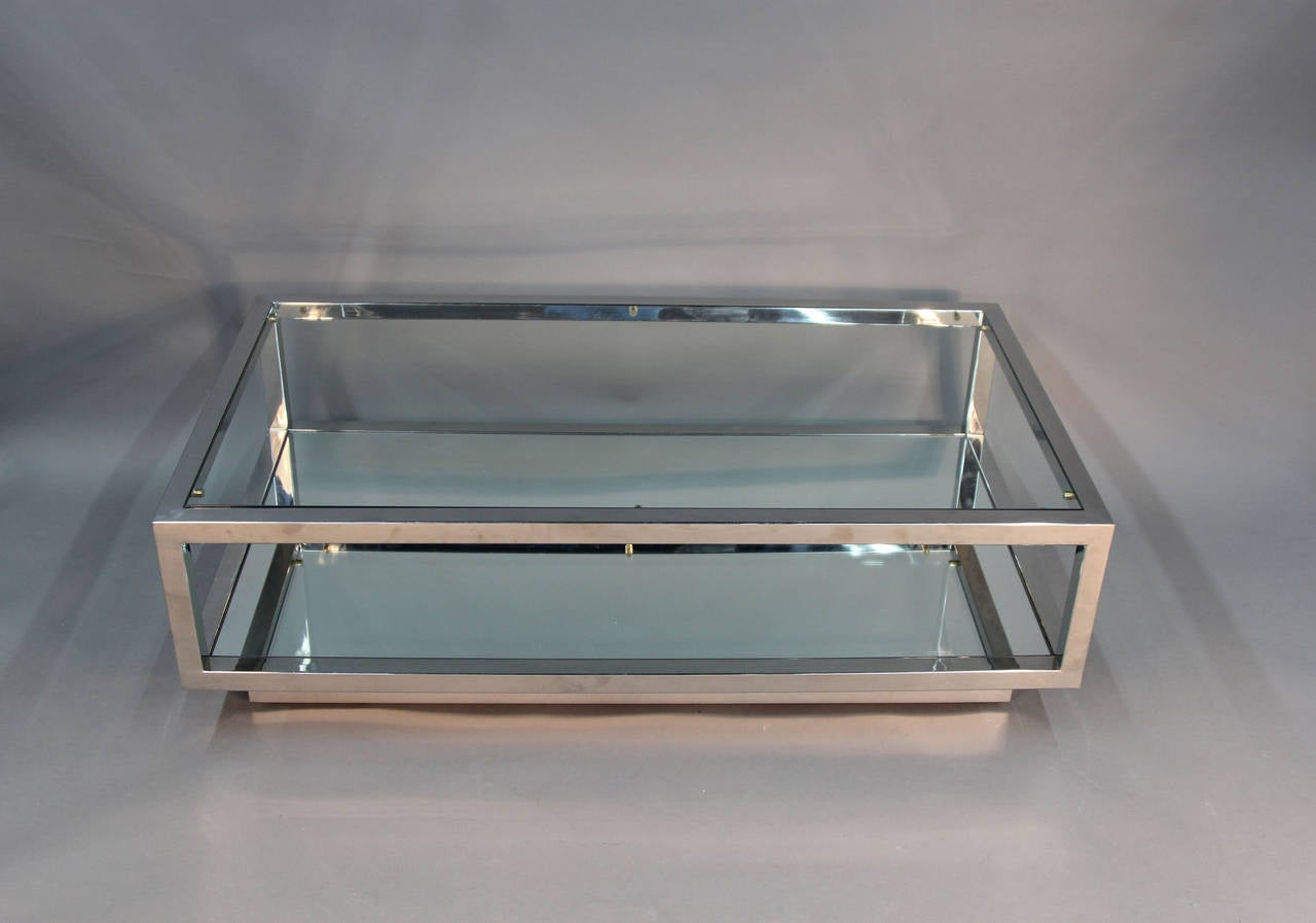 Chrome And Glass Top Coffee Table With Mirrored Shelf Attributed Cy Mann 3