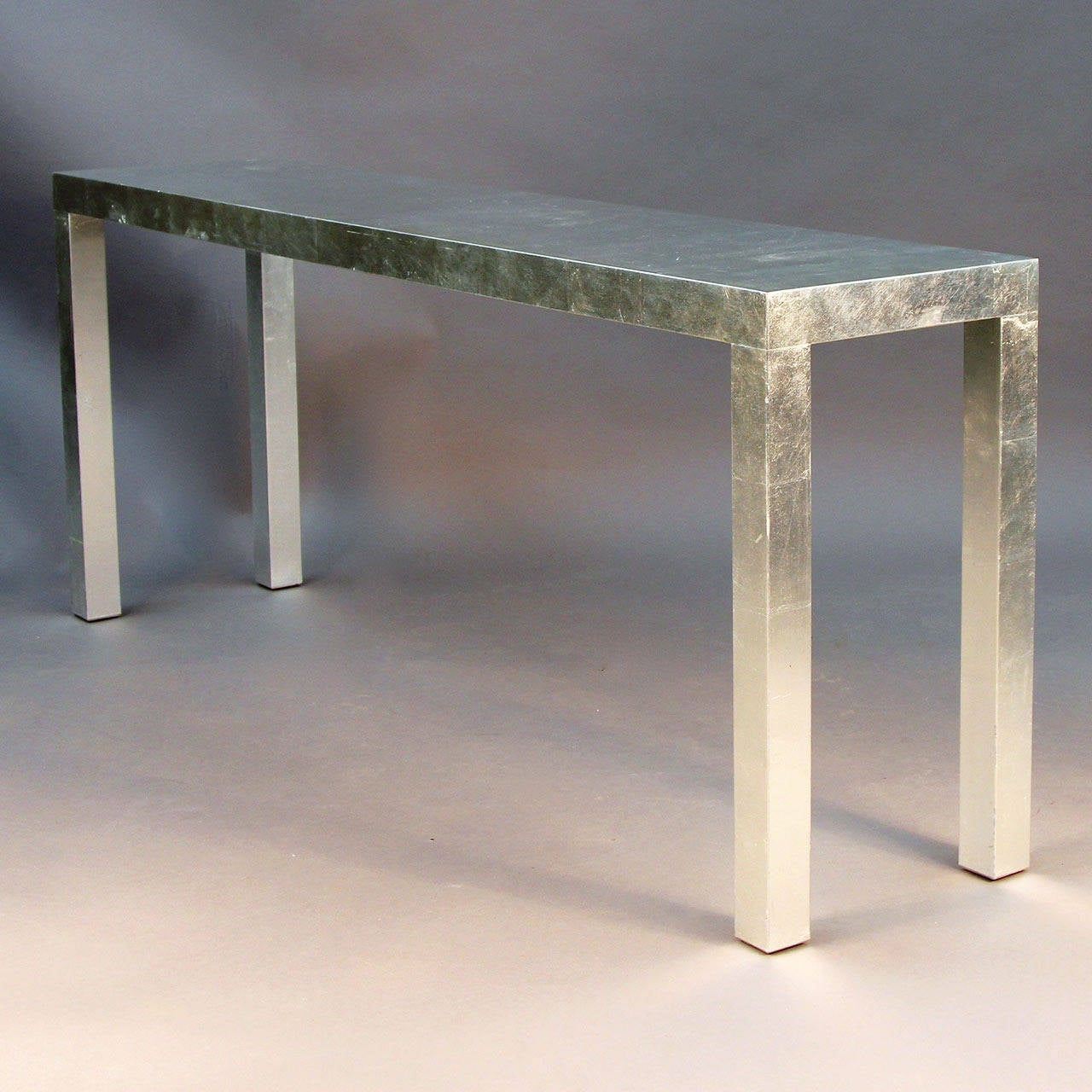 Striking Modern Silver Leaf Display Console Or Sofa Table Is Elegant In Its Simplicity Lovely
