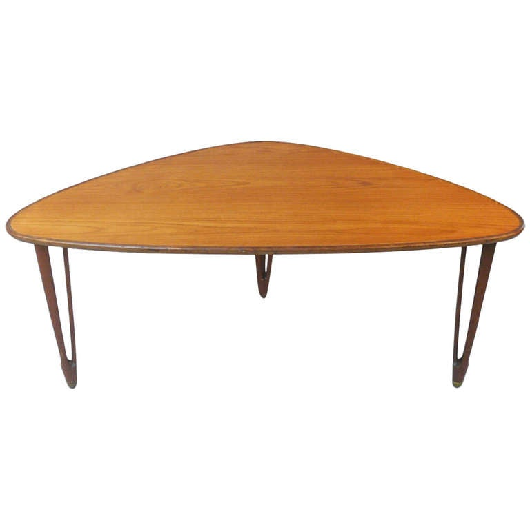 Beautifully Designed Triangular Teak Coffee Table At 1stdibs