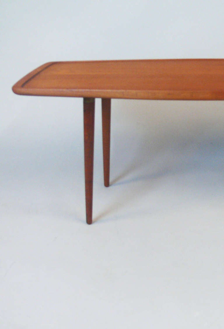 Solid teak coffee table by jacob kjaer at 1stdibs Solid teak coffee table
