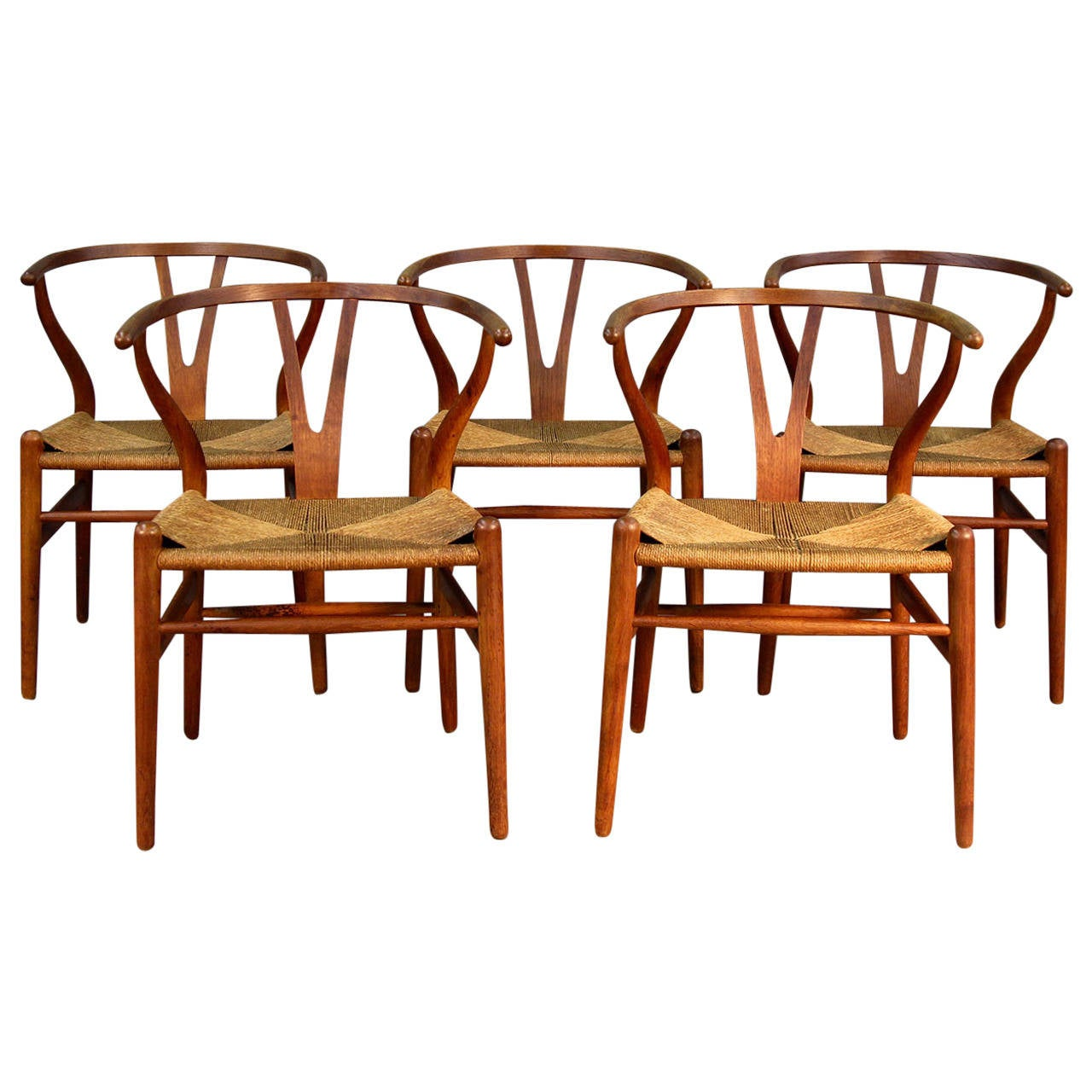 Set Of Five Early Hans Wegner Wishbone Chairs 1