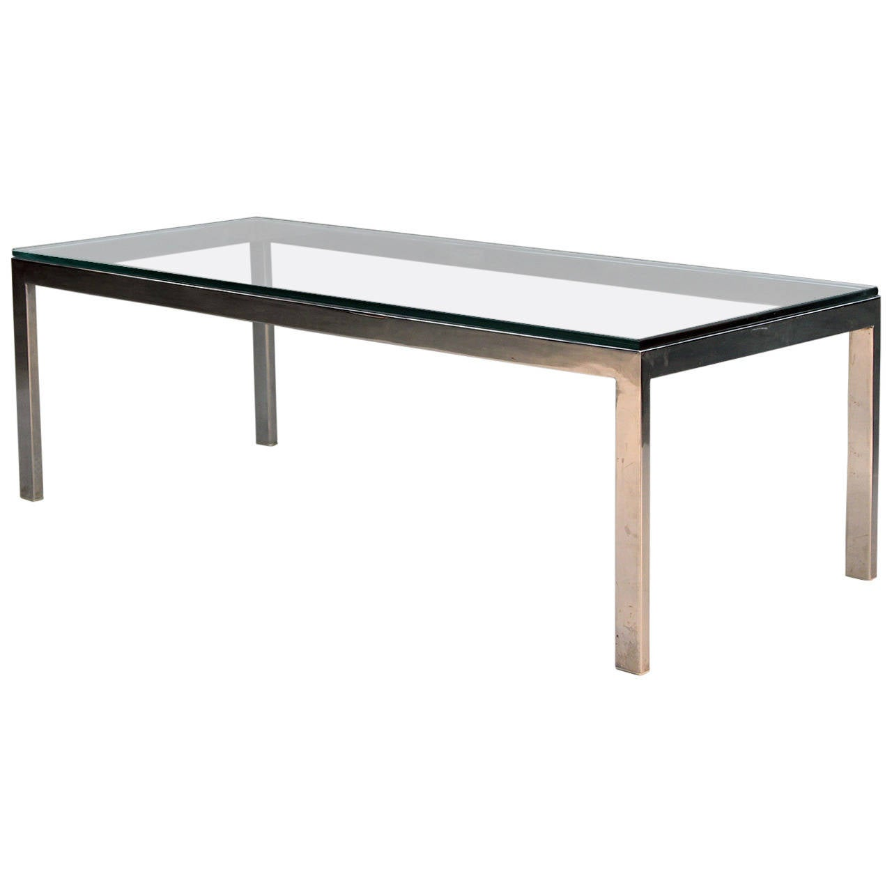 Chrome and glass vintage modern coffee table at 1stdibs Glass contemporary coffee table