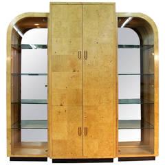 Burlwood China/Bar Cabinet Designed by Milo Baughman