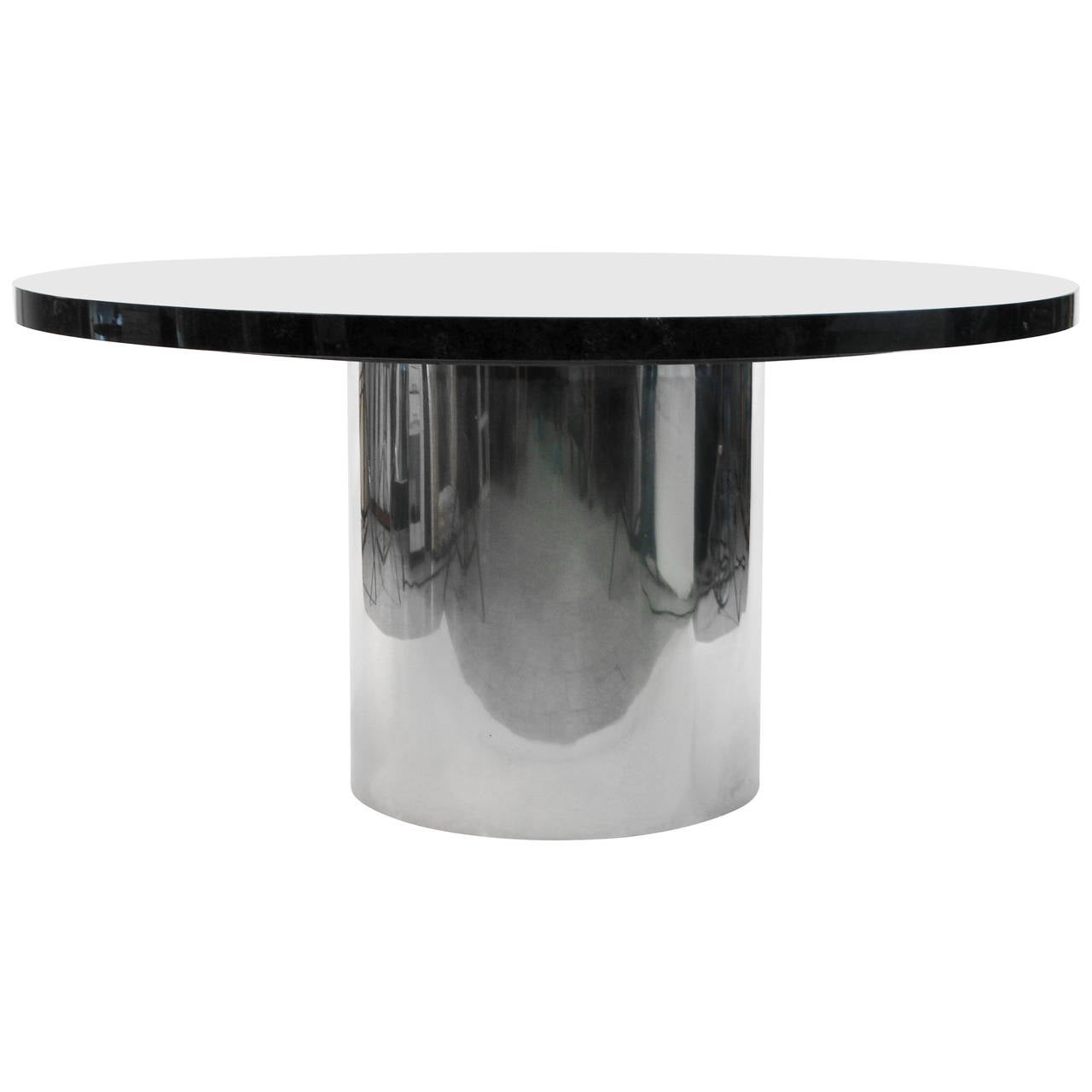 Knoll Marble Top Chrome Drum Base Dining Or Conference