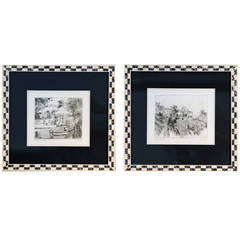 "Pair of Signed ""La Samanna"" Prints in Mother of Pearl Frames"
