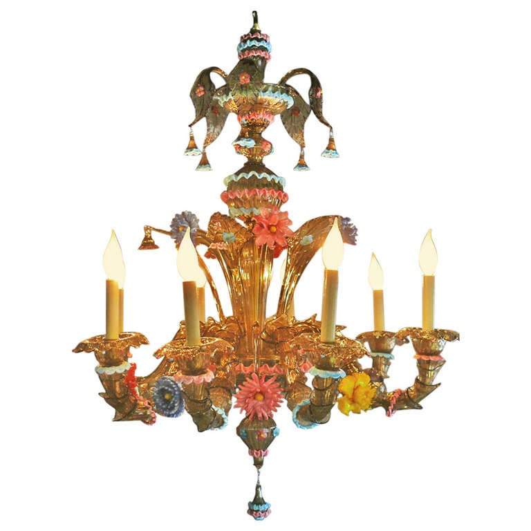 Unique Murano Glass Chandelier with Vibrant Color Elements