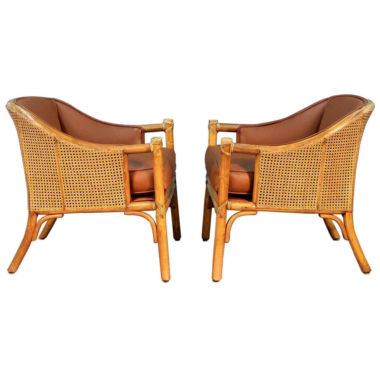 Attractive Pair Of McGuire Rattan And Cane Club Chairs 1