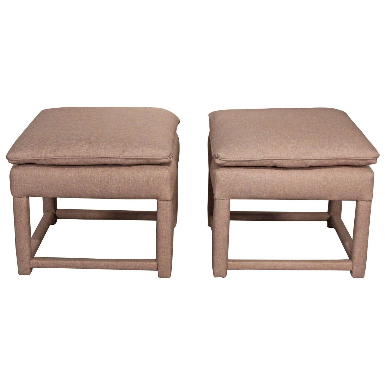 pair of upholstered ottomans parsons style for sale at 1stdibs. Black Bedroom Furniture Sets. Home Design Ideas