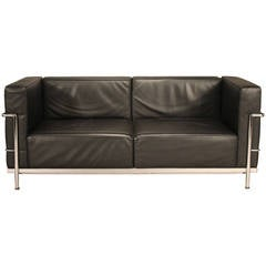 Le Corbusier LC3 Leather and Chrome Loveseat Sofa