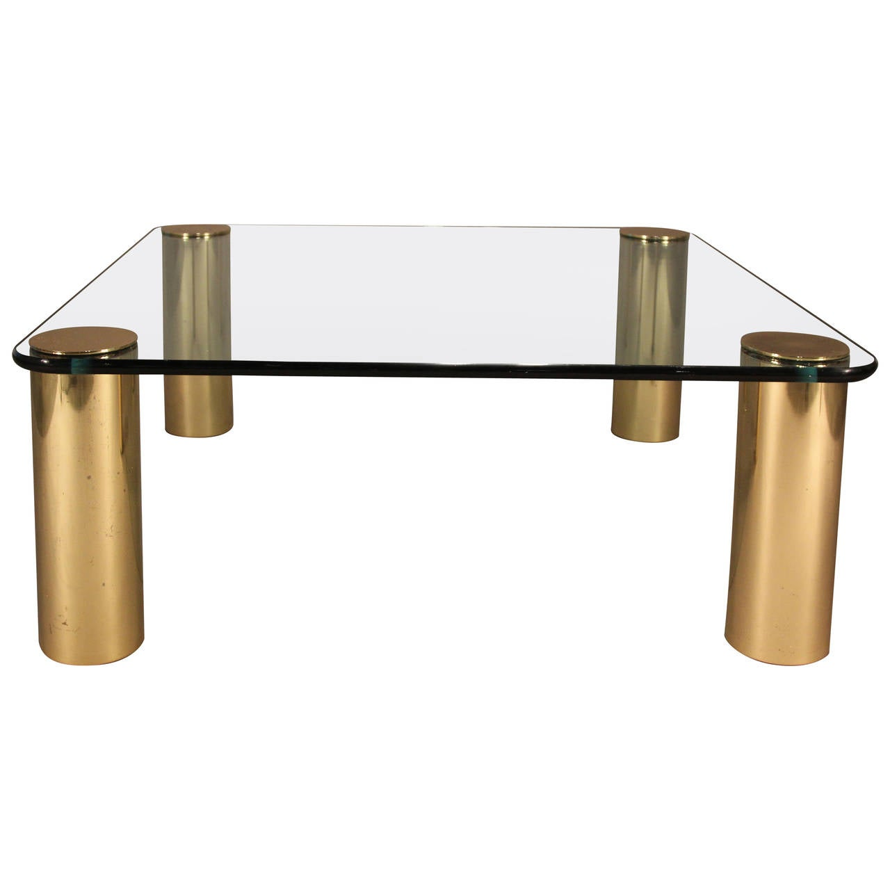Pace coffee table with brass legs and glass top at 1stdibs Legs for a coffee table