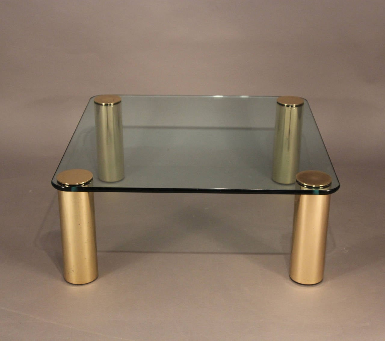 Pace Coffee Table With Brass Legs And Glass Top At 1stdibs