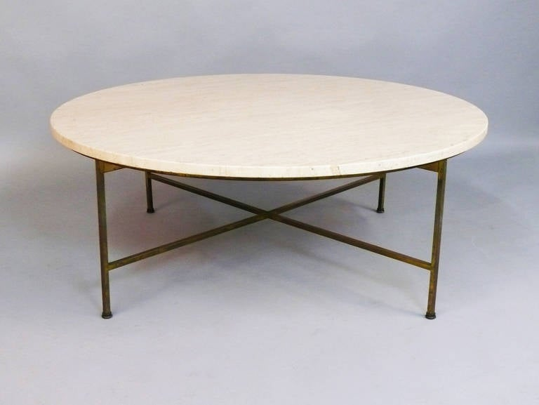 Paul Mccobb Travertine And Brass Base Round Coffee Or Cocktail Table At 1stdibs