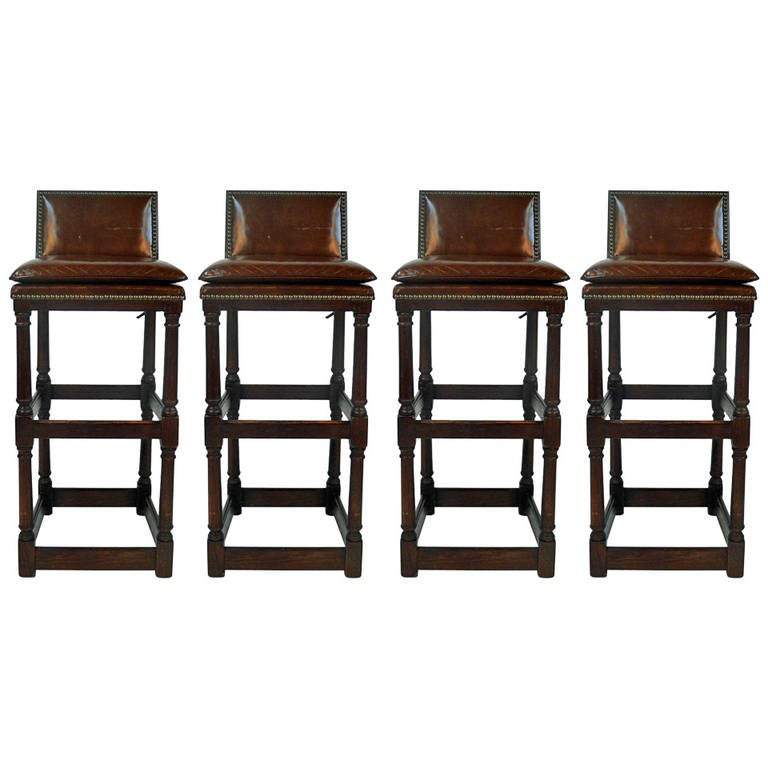 Leather Seat Bar Stools With Backs Set Of 4 At 1stdibs